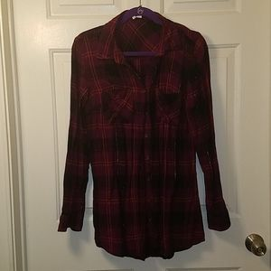 Maurices Tunic Plaid Button Down Flannel